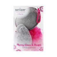 The Bathery Merry Clean & Bright Charcoal Infused Spa Set 4 pc