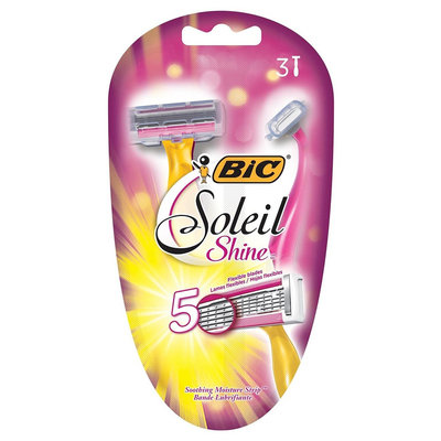 Bic Soliel Shine Women's 5 Blade Disposable Razor - 3 ct