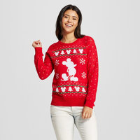 Disney Women's Mickey Mouse Ugly Christmas Sweater Red XL