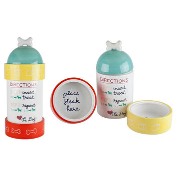 Housewares International Anne Was Here Directions Stacking Set - White/Yellow/Teal/Red (6.02x6.02x16.14)