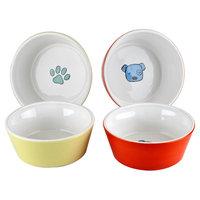 Housewares International Anne Was Here K9 Pet Bowl - White/Yellow/Orange (5.28x5.28x1.97)