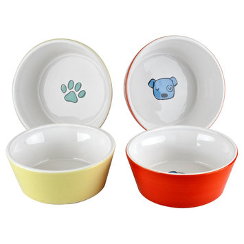 Housewares International Anne Was Here K9 Pet Bowl - White/Yellow/Orange (5.28x5.28x1.97)