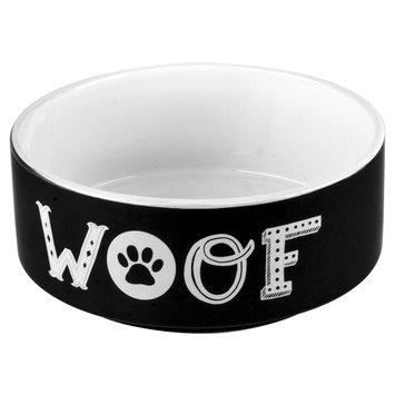 Housewares International Anne Was Here Woof Pet Bowl - Gray/White (6x6x2.52)