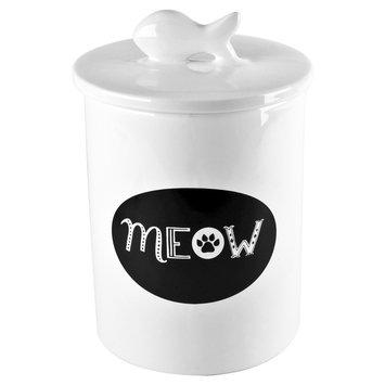 Housewares International Anne Was Here Meow Treat Jar - White/Gray (5.91x5.91x9.65)