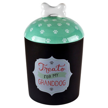 Housewares International Anne Was Here Granddog Treat Jar - Black/White/Teal (6.22x6.22x9.84)