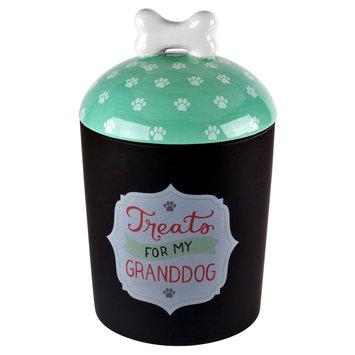 Housewares International Anne Was Here Granddog Treat Jar - Black/White/Teal (6.22x6.22x9.84)