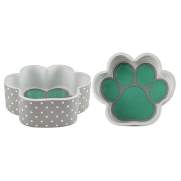 Housewares International Anne Was Here Happy Pup Paw Pet Bowl - Gray/White/Teal (7.01x7.01x2.48)