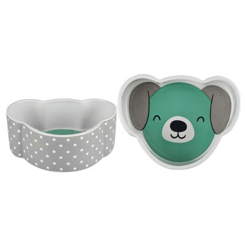 Housewares International Anne Was Here Happy Pup Dog Pet Bowl - Gray/White/Teal (7.01x7.01x2.48)