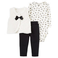 Baby Girls' 3-Piece Fleece Cardigan Set Fashion Black Bow 3M - Just One YouMade by Carter's, Soot Black