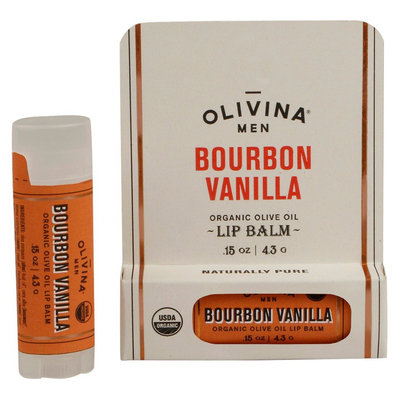 Olivina Men Bourbon Vanilla Organic Lip Balm - 0.15oz