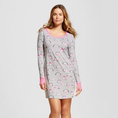 Nite Nite Munki Munki Women's Nightgown Winter Owls Print Grey M, Size: Medium
