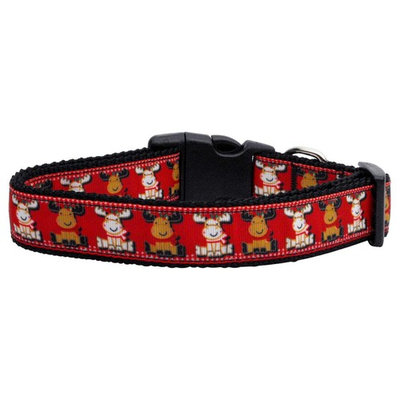 Reindeer Nylon Ribbon Dog Collar XL