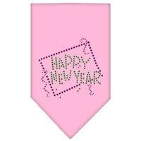 Mirage Pet Products 6735 SMLPK Happy New Year Rhinestone Bandana Light Pink Small