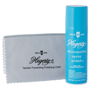Hagerty Silversmiths' Spray Polish 2 pc. Set R-22 Tarnish Preventative,8 Oz silversmiths polish cloth