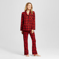 Evergreen Women's Notched Collar pajama Sets - Red Plaid S