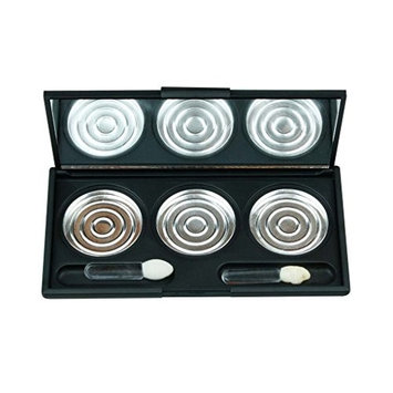 IS'MINE Eye Shadow box Black color with Mirror, Compact Cosmetic Case, Empty Eye Shadow Case, 3 Lattice with Aluminium Pan
