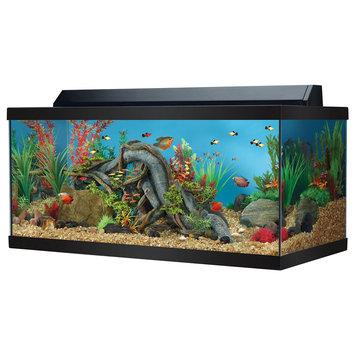 Top Fin® 40 Gallon Hooded Aquarium, Black