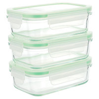 Kinetic Go Green Glassworks Kinetic GoGreen Glassworks 6-Piece Rectangular Oven Safe Glass Food Storage Container Set with Lid; 14 oz, Clear