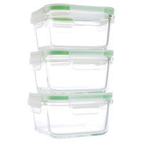 Kinetic Go Green Glassworks Kinetic GoGreen Glassworks 6-Piece Square Oven Safe Glass Food Storage Container Set with Lid; 15 oz, Clear