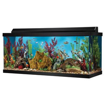 Top Fin® 75 Gallon Hooded Aquarium, Black