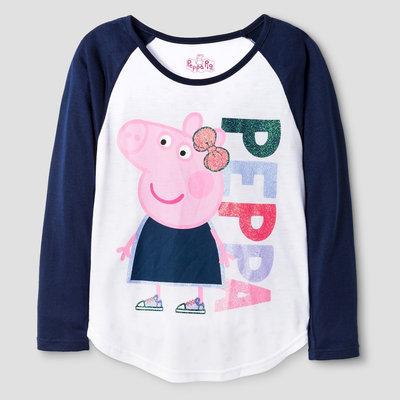 Girls' Peppa the Pig Long Sleeve Tee - White S (6/6X), Girl's, Size: S (6-6X)