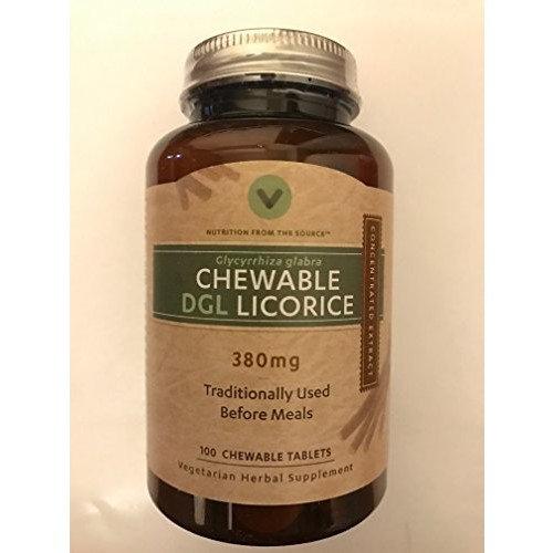 Vitamin World DGL Chewable Licorice, 380mg, 100 Tablets