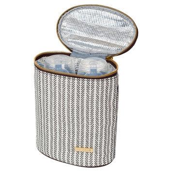 JJ Cole Bottle Cooler, Dashed Stripe, Brown