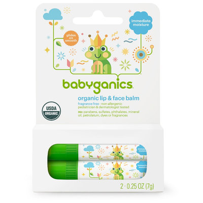 Babyganics Fragrance-Free Lip & Face Balm - 0.5oz (2 Pack)