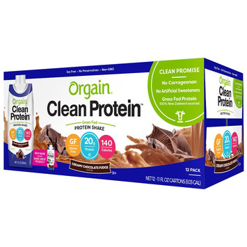 Orgain Grass-Fed Protein Shake Fudge- 12 count