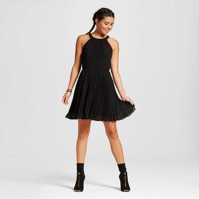 Women's Pleated High Neck Dress Black S - 3Hearts (Juniors')