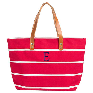 Cathys Concepts Women's Monogram Red Striped Tote with Leather Handles - E, Red - E