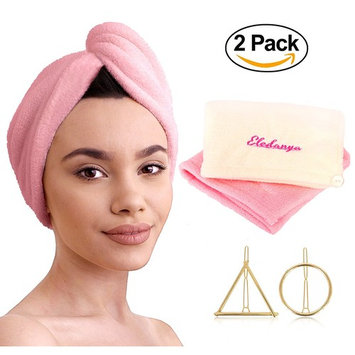 2 Pack Microfiber Hair Towel Wraps for Quick Dry + 2 Hair Clips - Ultra Absorbent Head Towel for Delicate and Curly Hair - Microfiber Hair Turban Towel by Eledanya