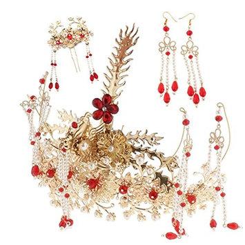 Homyl Vintage Glorious Chinese Bridal Retro Crown Earrings Hairpin Set Bridal Headdress Hair Ornaments for Wedding