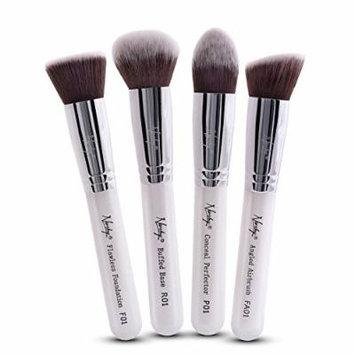 Nanshy 4 Piece Kabuki Makeup Brush Set - Face Application Contouring Blending Liquids Creams Mineral Powders -Pearlescent White Kit