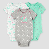 Baby Girls' 3 Pack Dot Elephant Bodysuit Set Cloud Gray NB - Just One You Made by Carter's