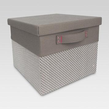 Lidded Small Milk Crate - Grey Chevron - Threshold