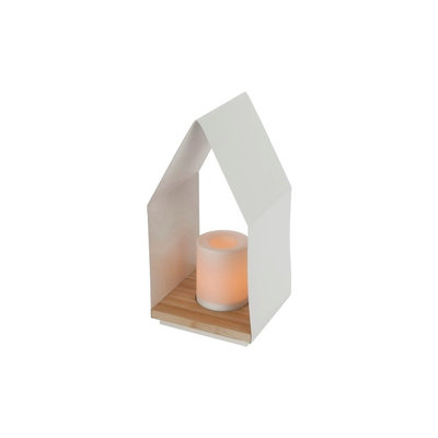 Outdoor Lantern House with Candle - White - Room Essentials