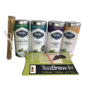 Nepali Tea Gift Sampler (4-six inch tins) includes Black, Oolong, Green Mint and White; 20-pack Individual Brewing Filters and 8 FREE New England Honey Sticks