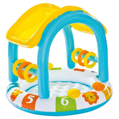 Intex Inflatable Sun Shaded Baby Pool, Multi-Colored