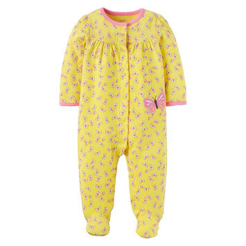 Baby Girls' Cotton Butterfly Sleep N Play Yellow NB - Just One You Made by Carter's