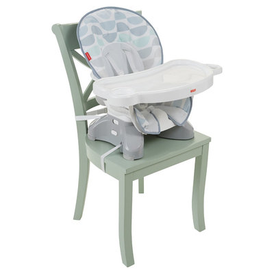 Fisher-Price Space Saver Highchair - Crescent Bliss, Light Grey Teal White
