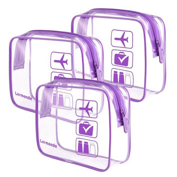 3pcs Lermende TSA Approved Toiletry Bag with Zipper Travel Luggage Pouch Carry On Clear Airport Airline Compliant Bag Travel Cosmetic Makeup Bags - Purple