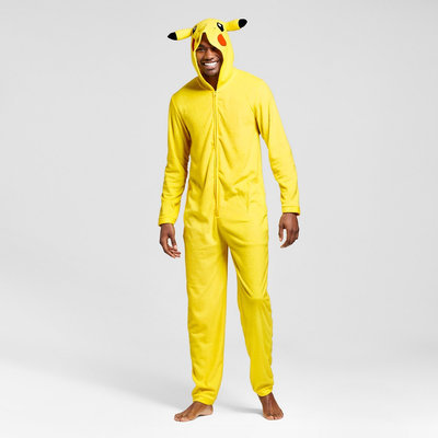 Men's Pokemon Union suit Yellow- XL, Yellow
