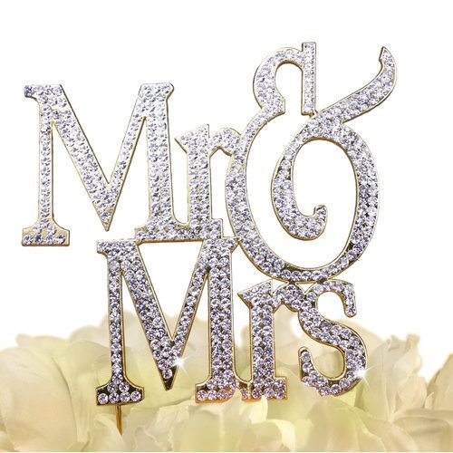 Unik Occasions Sparkling Collection Mr and Mrs Cake Topper, Block, G