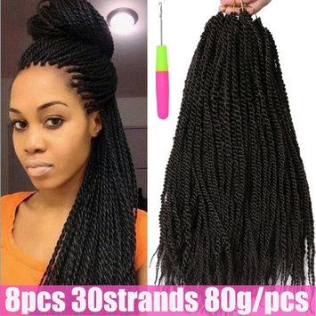 Alibally 18inch 8Packs Crochet Braids 80gram 30Strands Kanekalon Braiding Hair Extensions Small Senegalese Twist Hair