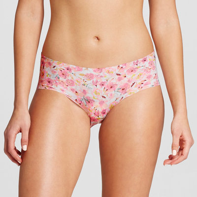 Women's No Show Laser Cut Hipster Floral L, Pink