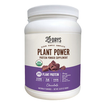 22 Days Nutrition Plant Power 22 Days Nutrition Chocolate Protein Powder - 15.87Oz