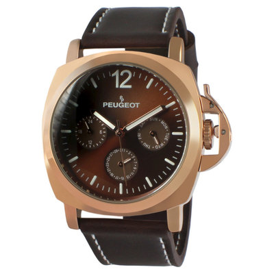 Peugeot Watches Peugeot Men's Rose Gold Multi-Function Sport Watch -Brown, Brown