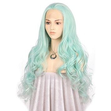 TANYAWIGS Blue Synthetic Lace Front Wig Big Loose Wave Mermaid Green Gorgerous Thick Glueless Wig For Women Hair Replacement Fashion Looking Wig