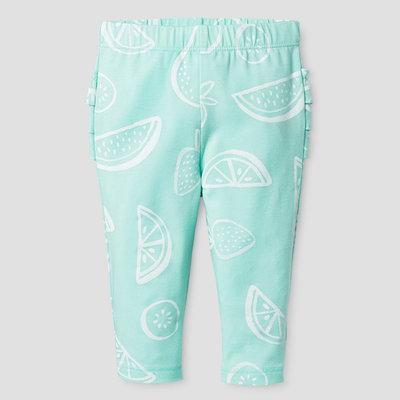 Baby Girls' Ruffle Bum Legging - Baby Cat & Jack Aqua/Fruit Print NB, Blue